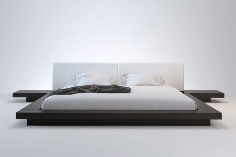 Low Flat Platform Bed Frame King Size In Black Anese Style Elegant Designs