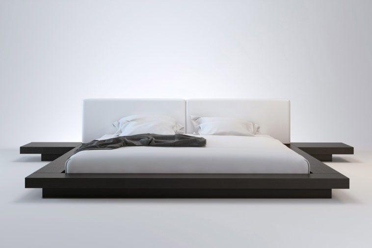 Low Flat Platform Bed Frame King Size In Black Japanese Style
