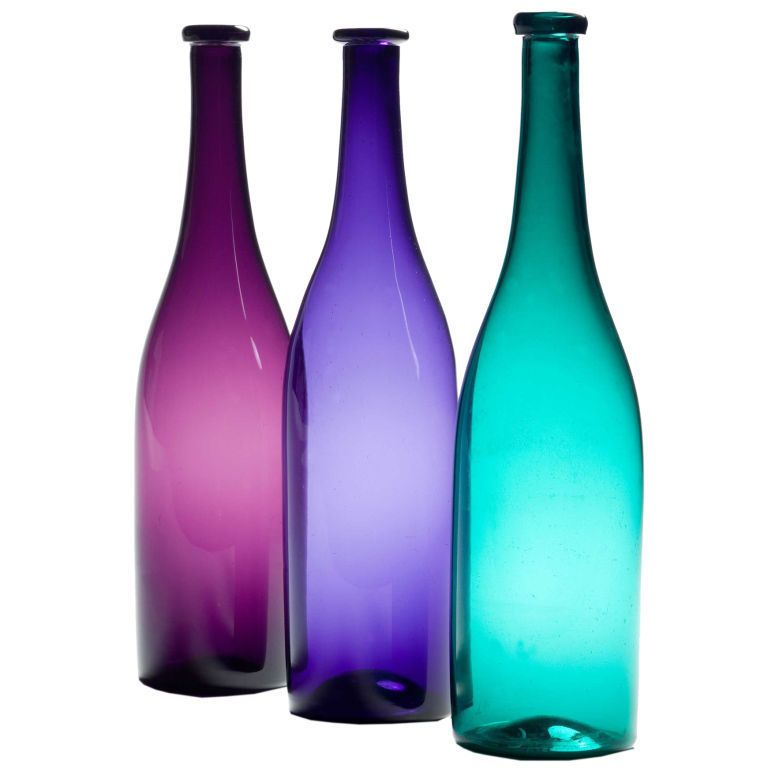 A Group Of Coloured Glass Bottles 1stdibs Com Colored Glass