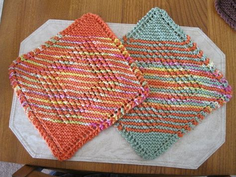 Variation2 For Eloomanator Diagonal Knit Dishcloth Knitting