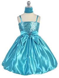Flower Girl Dresses - Girls Dress Style 588- Satin Bubble Dress with Sequin Bodice