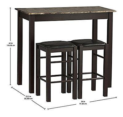 Pub Table Set 3 Piece Bar Stools Dining Kitchen Furniture Counter Entrancing Three Piece Dining Room Set Design Ideas