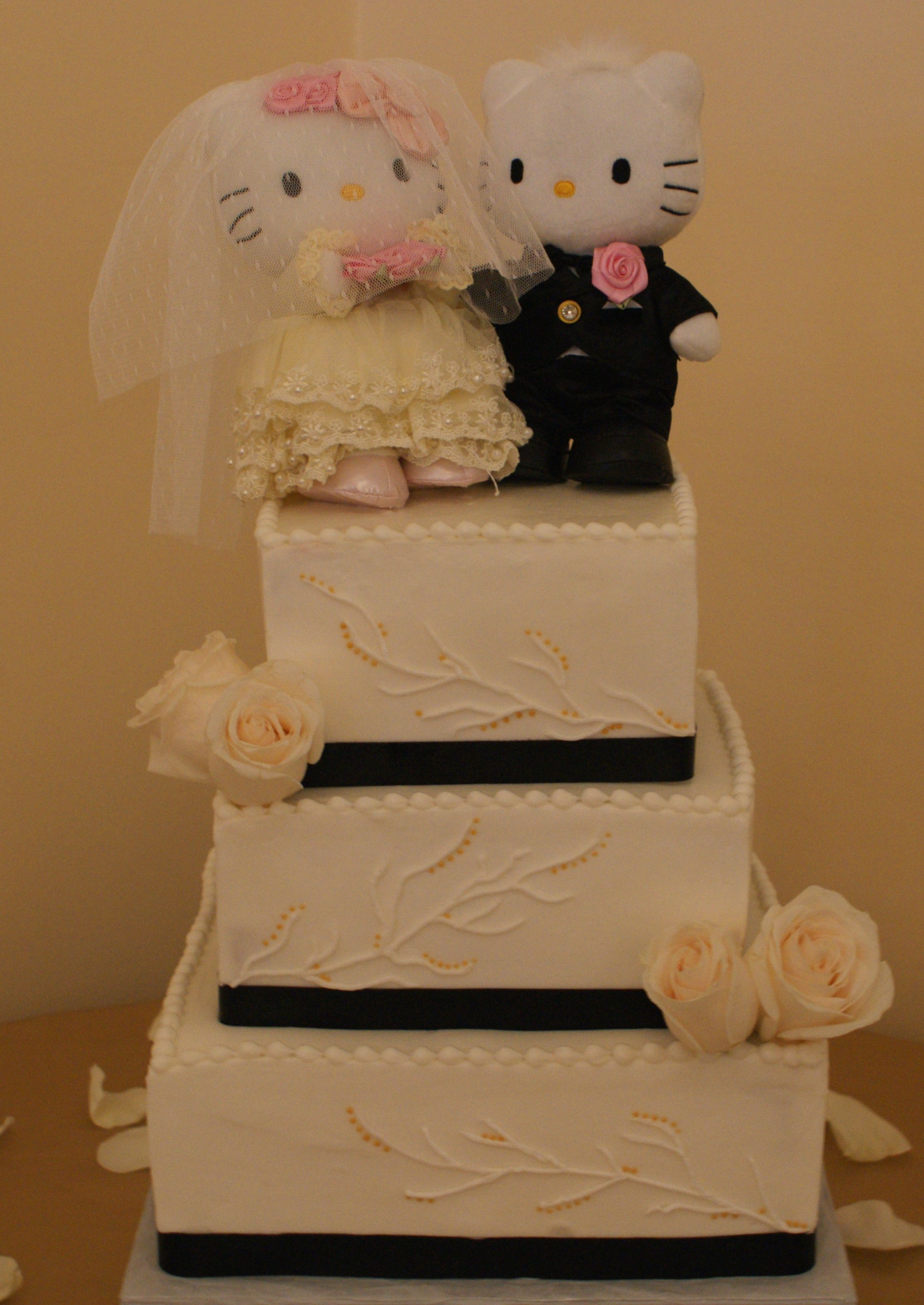 Hello Mr Mrs Kitty Wedding Cake