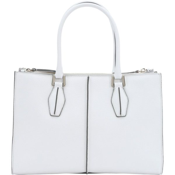1ee0cd732854 Tod s White And Grey Leather Structured Top Handle Tote ( 1