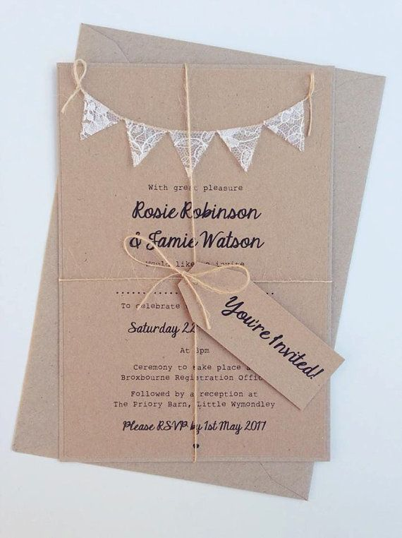 Wedding Invitation Rustic Lace Bunting on Kraft Card RSVP