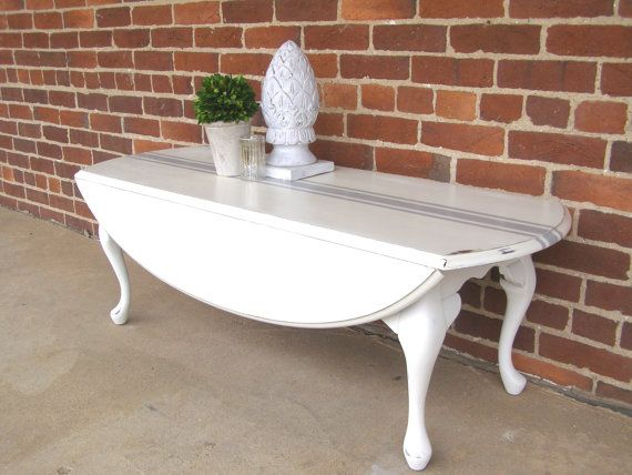 Off White Queen Anne Drop Leaf Coffee Table With Grain Sack Stripe