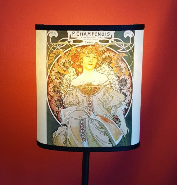 Lampshade mucha champenois the image printed on this lampshade is a famous litograph by alphones mucha https en wikipedia org wiki alphonse mucha home