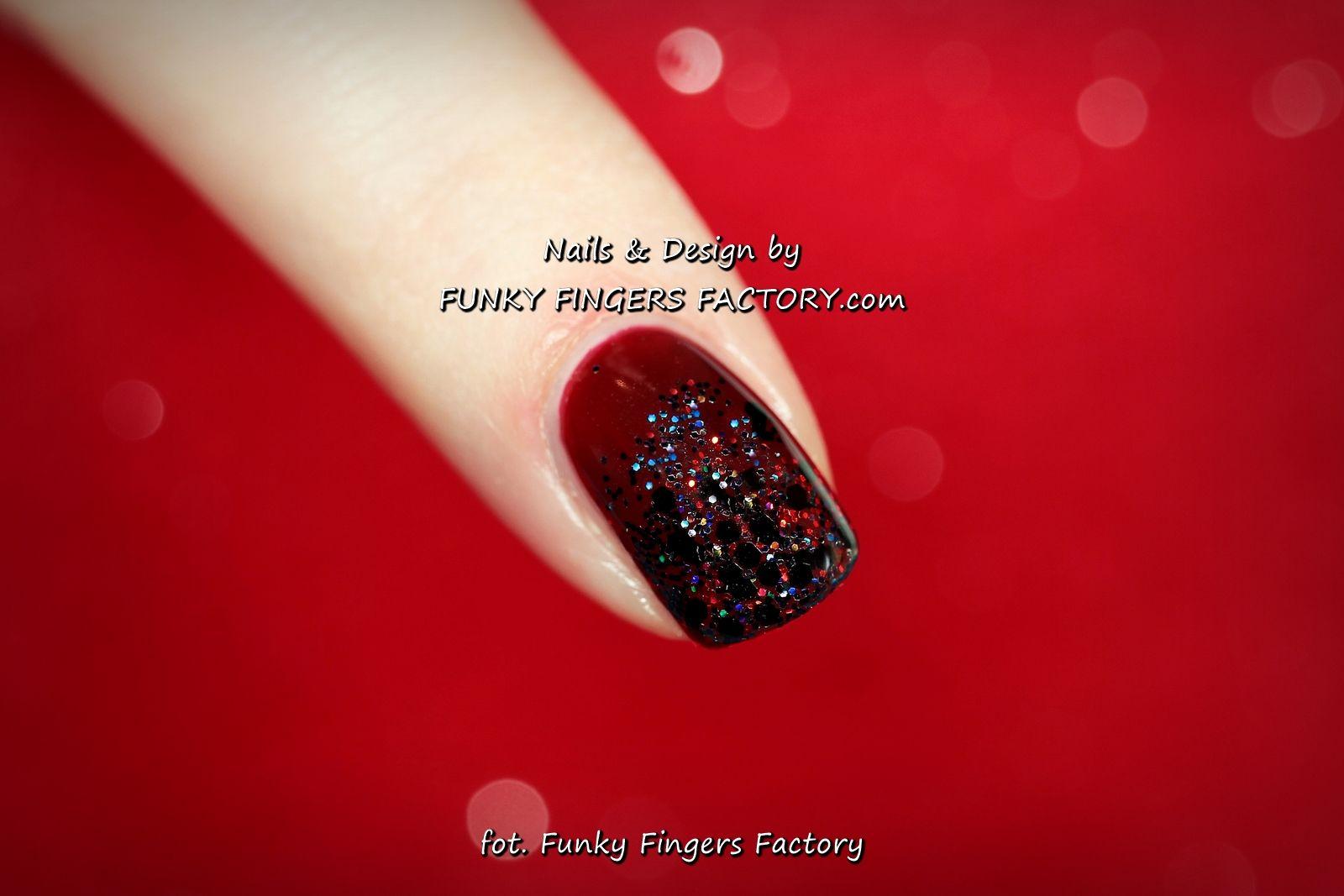 Gelish Dark Berry Christmas Glitter nails by www.funkyfingersfactory ...