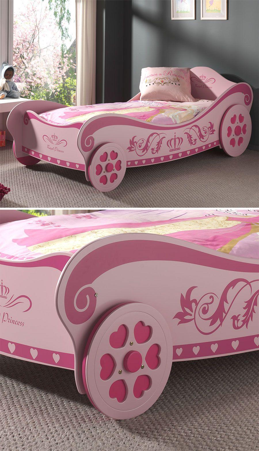 Mädchenhaftes Kutschenbett mit verspielten Rädern! | Betten.de ...