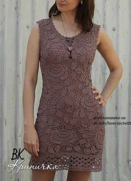 Patrón #1795: Vestido de Encaje a Crochet #crochet http://blgs.co ...