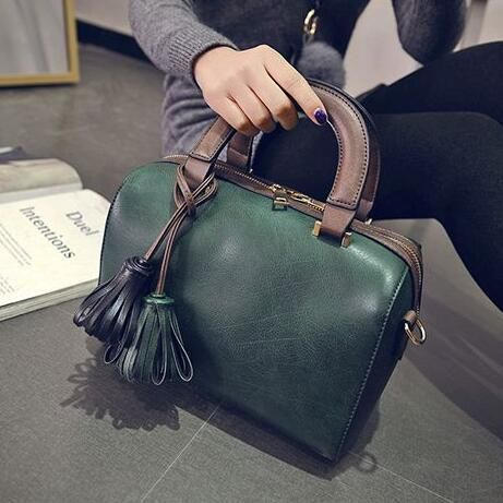 37715d8244 High quality Fashion Quality PU leather Women bag Boston pillow package  Tassel hit color handbag Retro