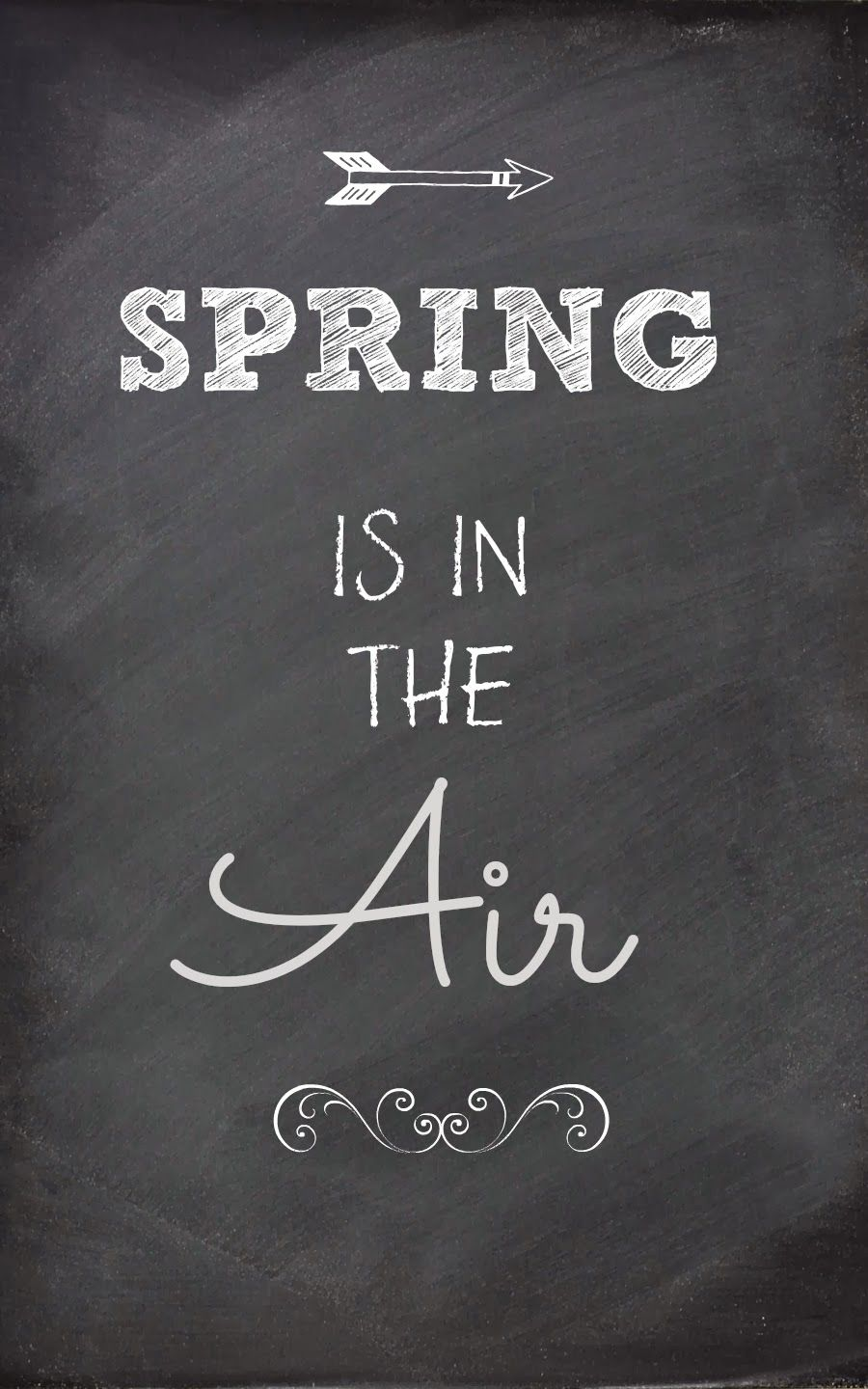 Free chalkboard printsspring is in the air decor spring