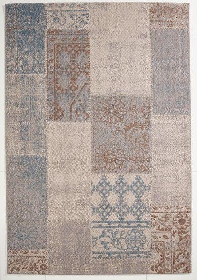 Vintage Teppich Patchwork Blau gemustert 120x170 cm, Flachgewebe ...