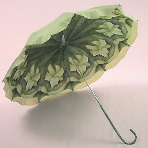Olive green umbrella with a green floral underside