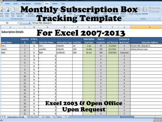 Monthly Subscription Box Tracking Template Product Of The Month