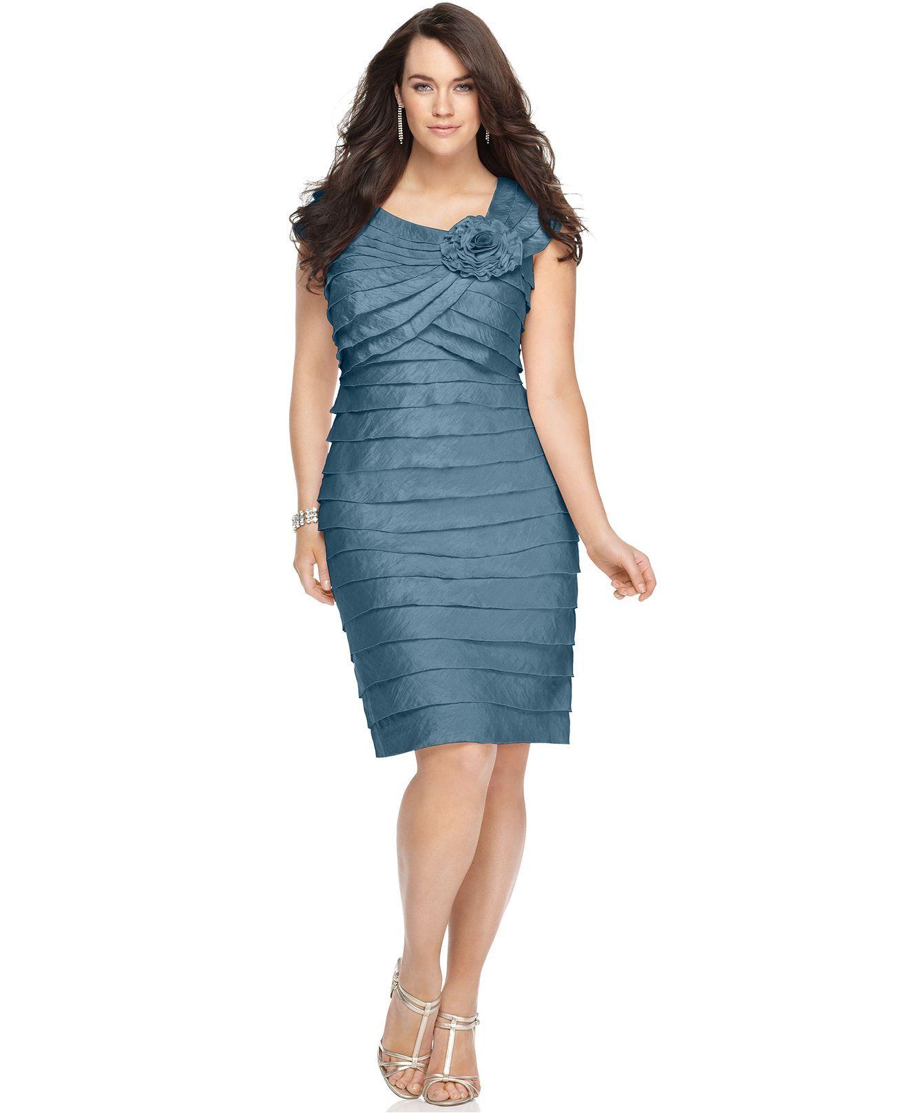 London Times Plus Size Dress, Rosette Cocktail Dress - Plus Size ...