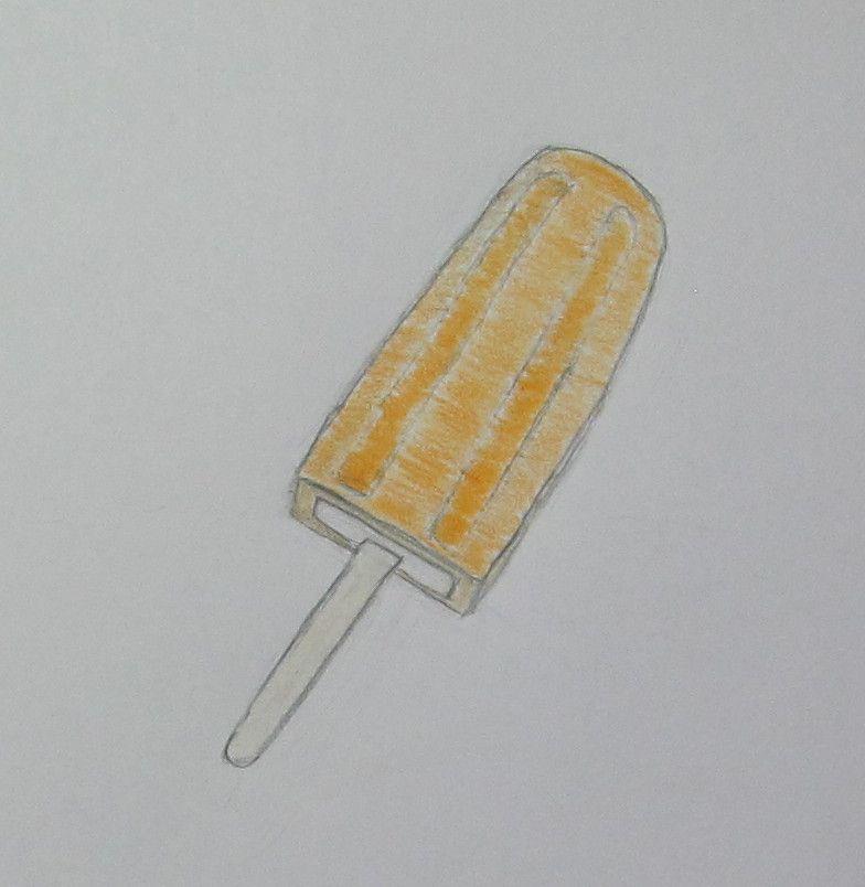 #絵, #イラスト , #food, #食べ物, #icepop, #アイスキャンディー, #icecream, #アイスクリーム, #cream, #クリーム , #dessert, #デザート ,#orange, #オレンジ , #fruity, # フルーティー , #coloredpencil, #色鉛筆 , #pencil, #鉛筆