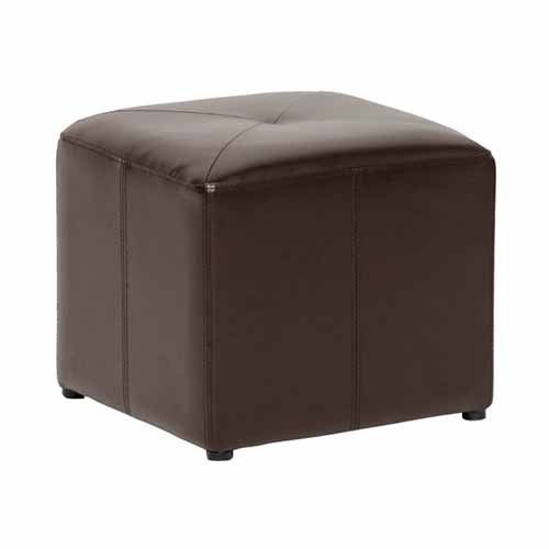 Baxton Studio Pebbles Cube Leather Ottoman - Dark Brown | from hayneedle.com