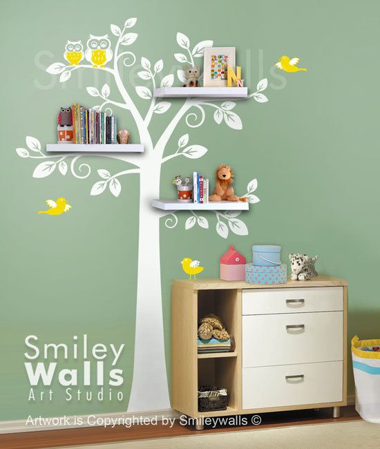 Shelf Tree Wall Decal Children Wall Decal Nursery Decal Wall - Wall decals in nursery