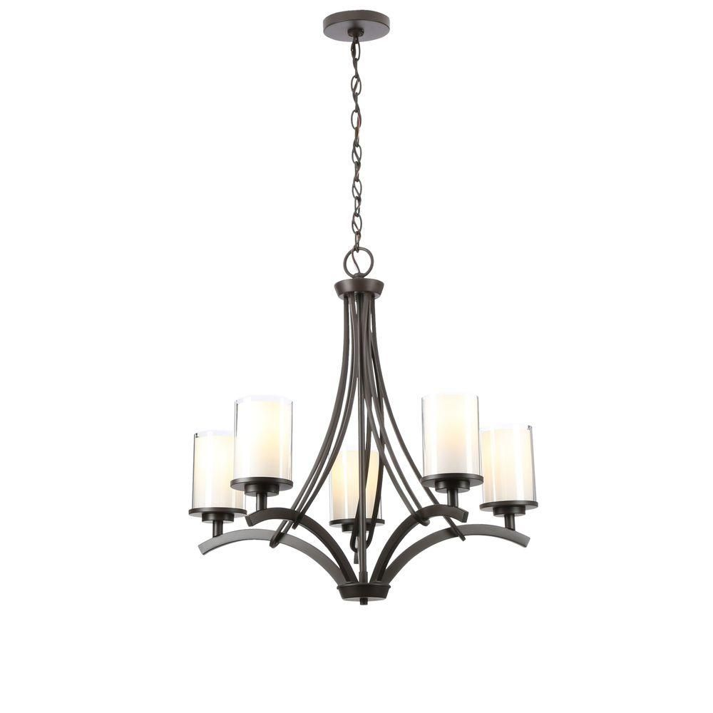 Hampton Bay 5 Light Oil Rubbed Bronze Ceiling Chandelier 89542 The Home Depot