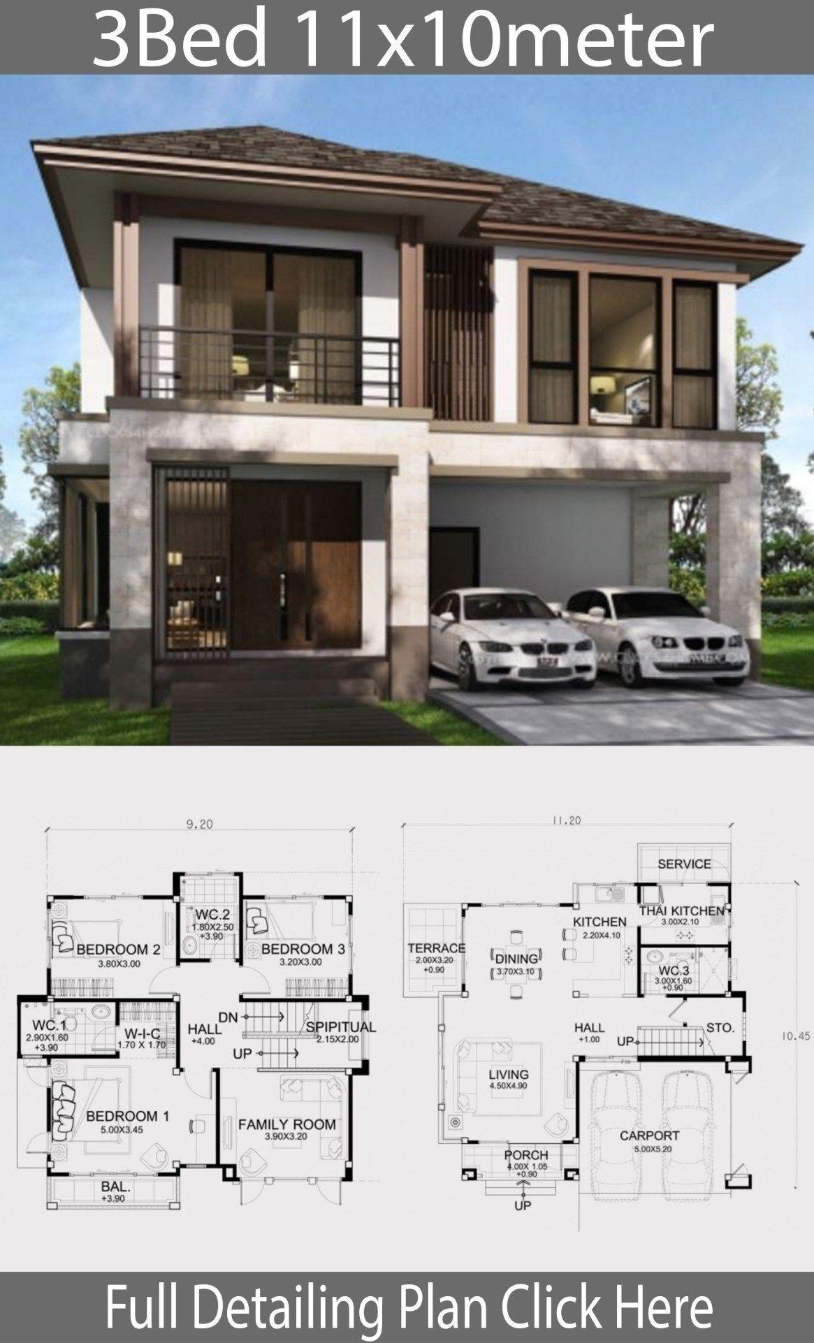 Modern House Design Plans 3d House Design Plans With 3 Bedrooms Plot 10x20m Gubugasri Best En 2020 Planos De Casas Medidas Planos De Casas Diseno Casas Modernas