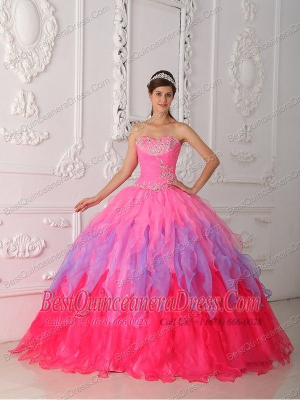 Home :: Best Quinceanera Dresses :: Hot Pink Ball Gown Sweetheart ...