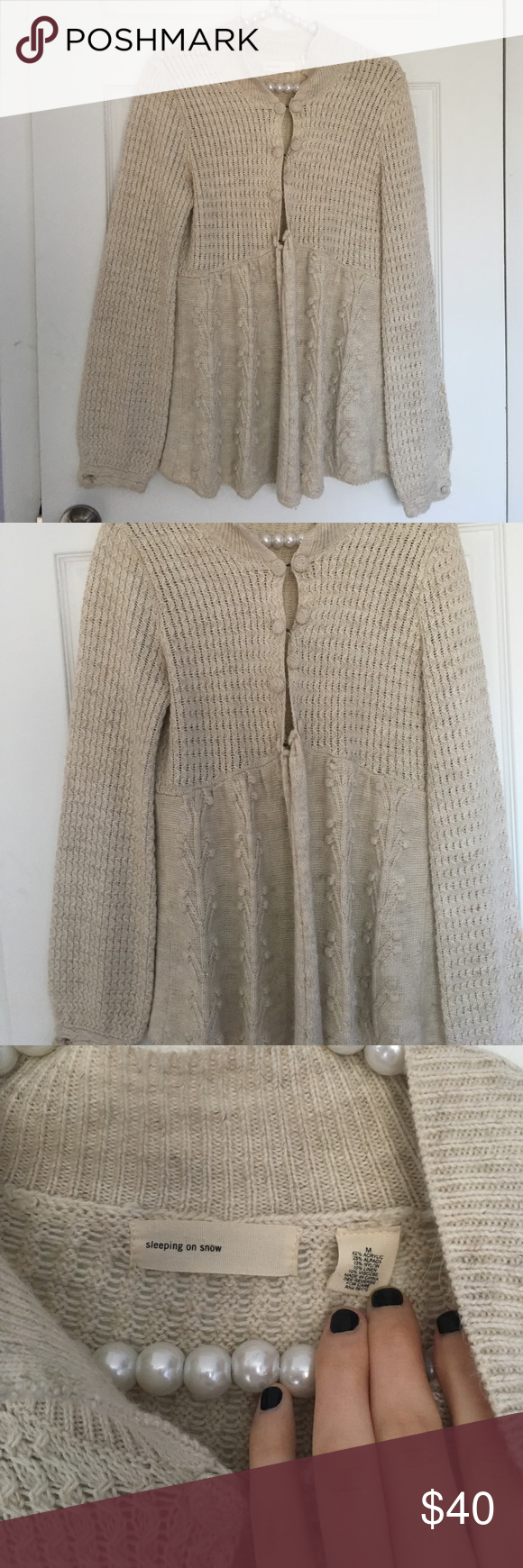 Anthropologie Cream Colored Knit Cardigan Excellent condition with ...