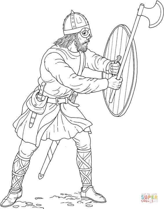 Viking With Ax And Shield Super Coloring Coloring Books Coloring Pages Coloring Book Art