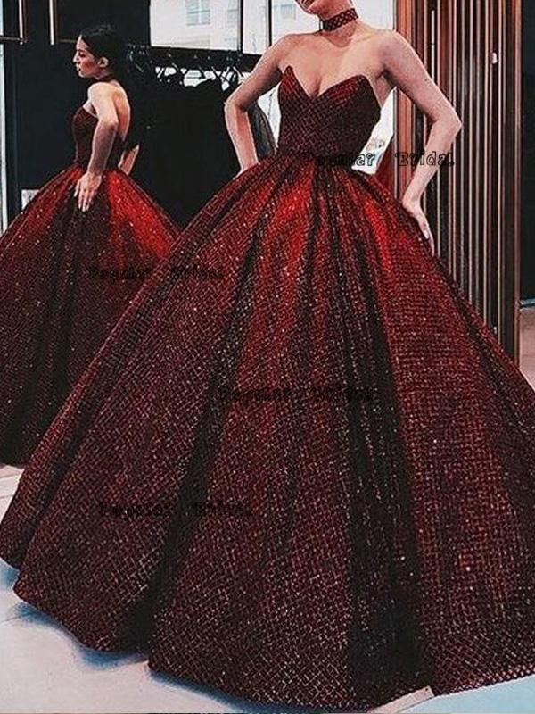 Sweetheart Red Ball Gown Long Evening Dresses With Beading 1686a844b9bc