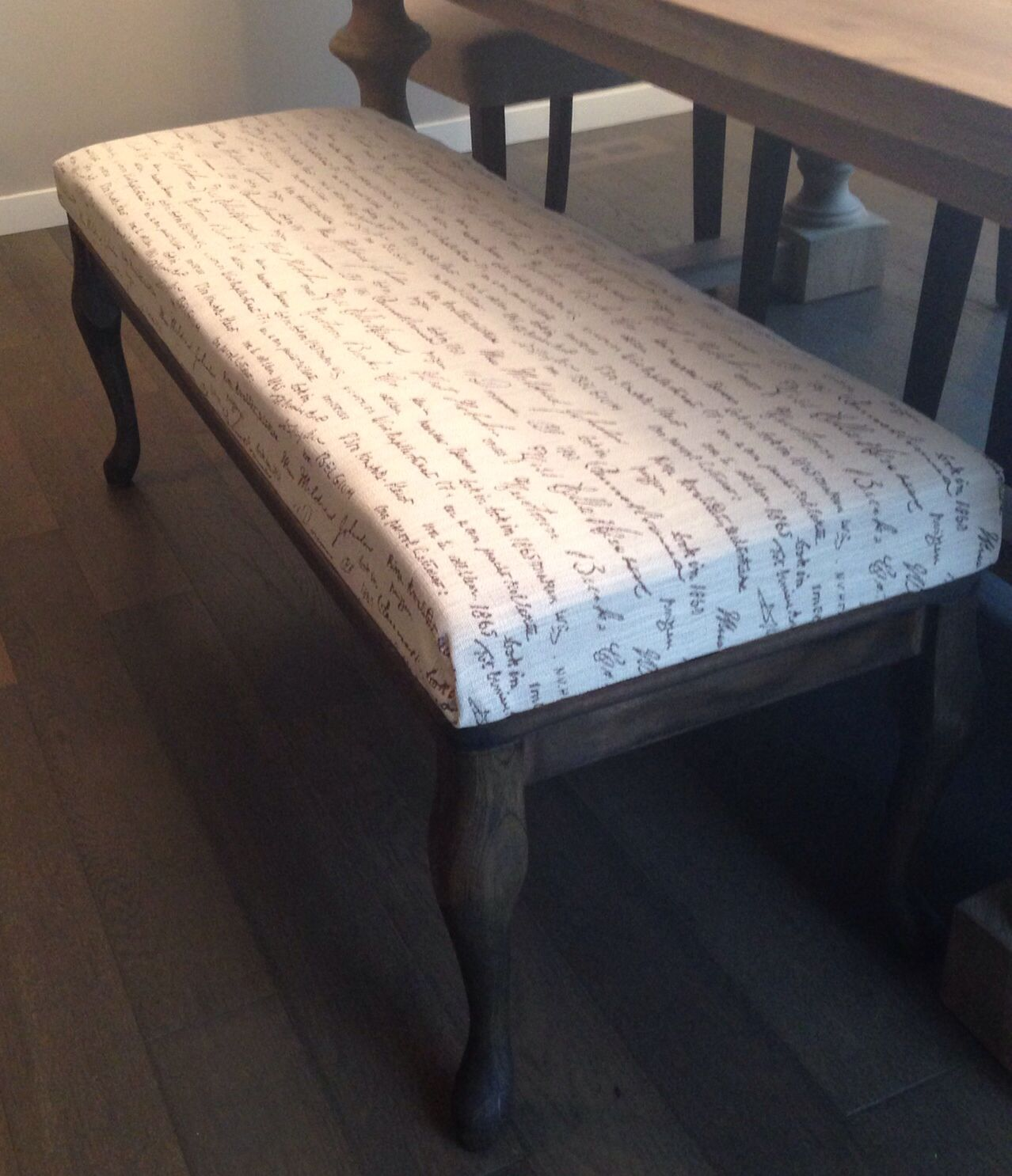 DIY Dining Bench A Few Chair Legs From Lowes And Some Fabric