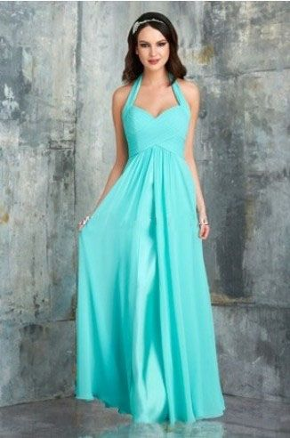 Tiffany Blue Bridesmaid Gowns With Sleeves Halter A Line Sleeveless Pleated Floor