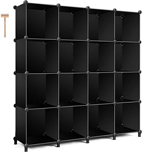 Amazing offer on TomCare Cube Storage 16-Cube Bookshelf Storage Shelves Closet Organizer Shelf Cube Organizer Plastic Book Shelf Bookcase DIY Closet Cabinet Organizers Shelving  Bedroom Office Living Room, Black online - Thepopbeautiful #cabinetorganizers