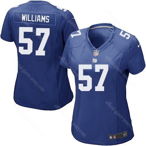 jacquian williams blue jersey 57 game women nike new york giants nfl jersey stitched sale