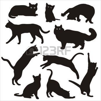 chat tatouage silhouettes noir et blanc de chats illustration tatouages pinterest pochoir. Black Bedroom Furniture Sets. Home Design Ideas