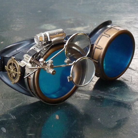 3D Kaleidoscope Rainbow Steampunk Goggles-Rave Glasses Victorian Style with Compass Design, Colored Lenses & Ocular Loupe gcg #victorian