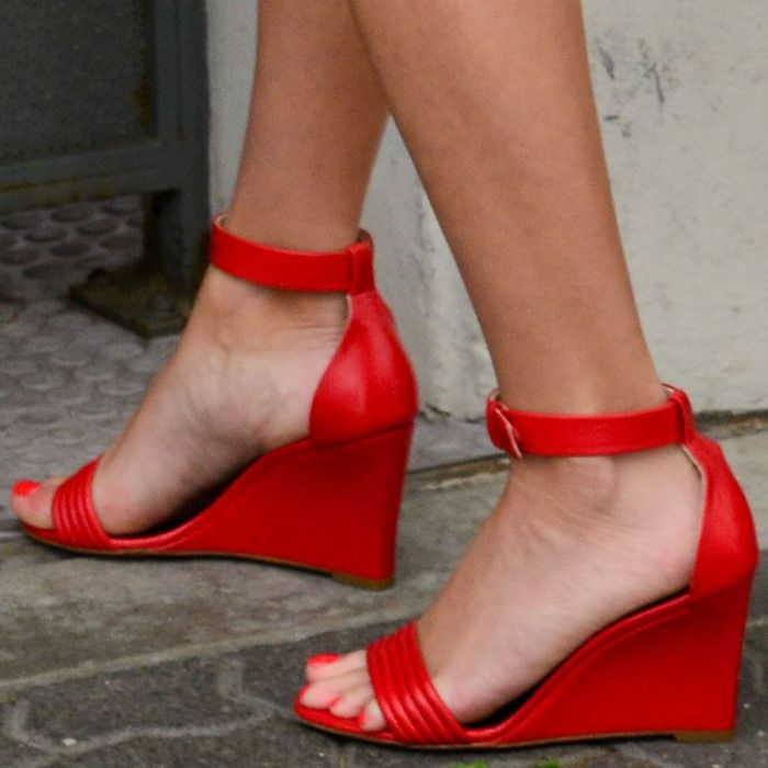 Reese Witherspoon Wearing Red Wedge Sandals High Heels