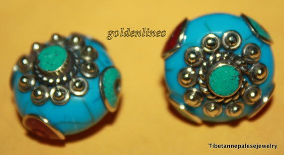 Nepalese Tibetan Blue Howlite coral turquoise Beads by goldenlines