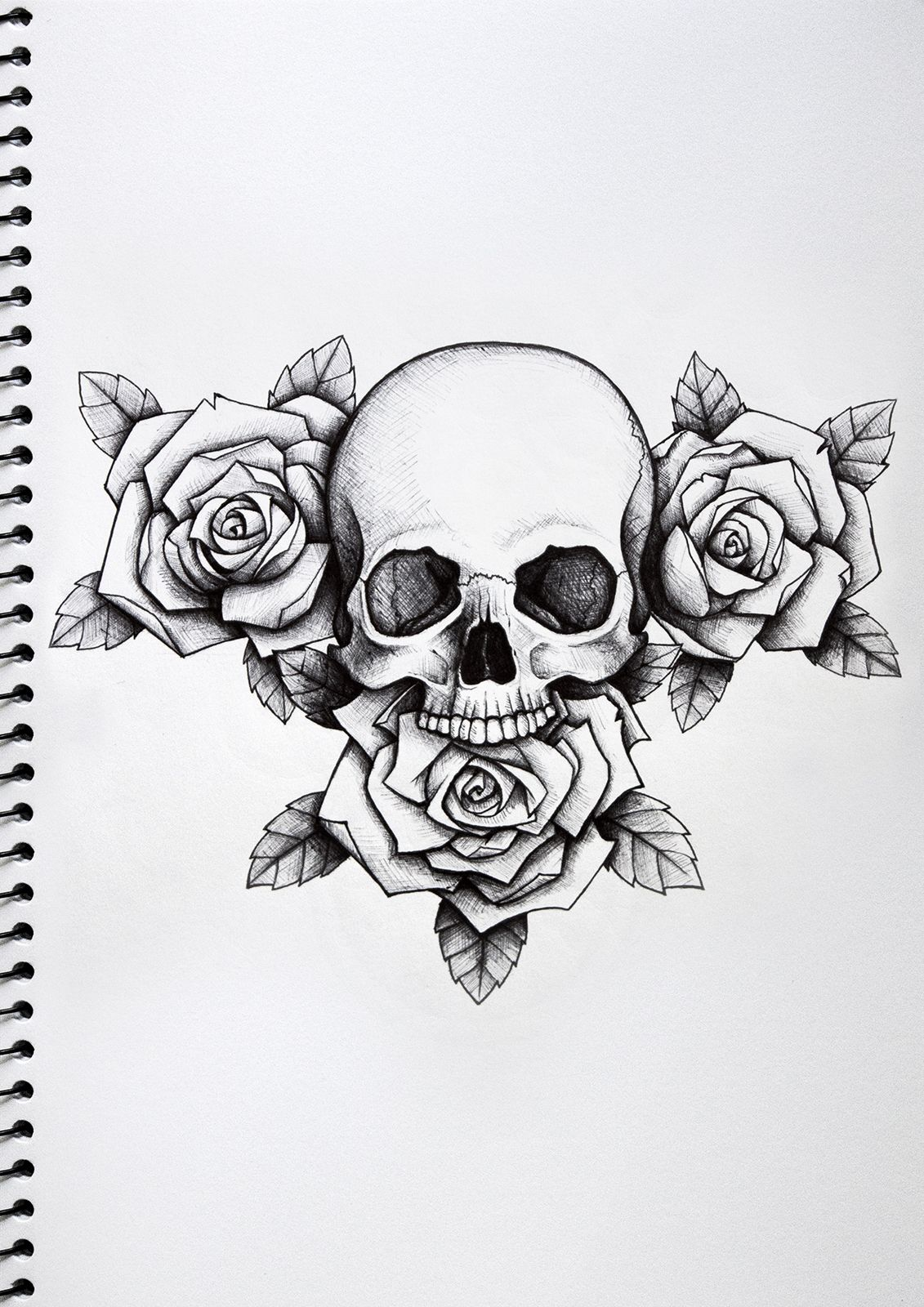 rose and skull tattoo paper Google Search Black