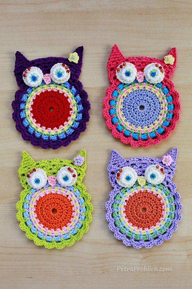 crochet owl coasters | Crafts | Pinterest | Häkeln