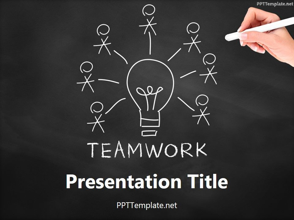 free teamwork bulb chalk hand ppt template | business ppt, Powerpoint templates