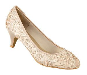 "L2249 Gold satin 2"" heel ladies court shoe lace finish upper special occasions"