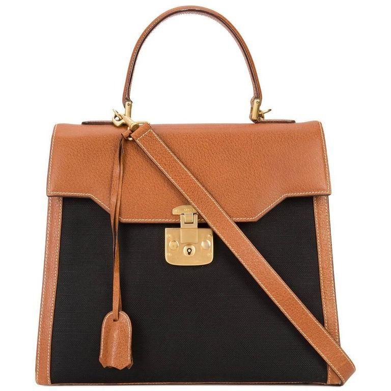 fc95c3ad3d0f Gucci Vintage Cognac Leather Black Canvas Kelly Top Handle Satchel Shoulder  Bag | From a collection
