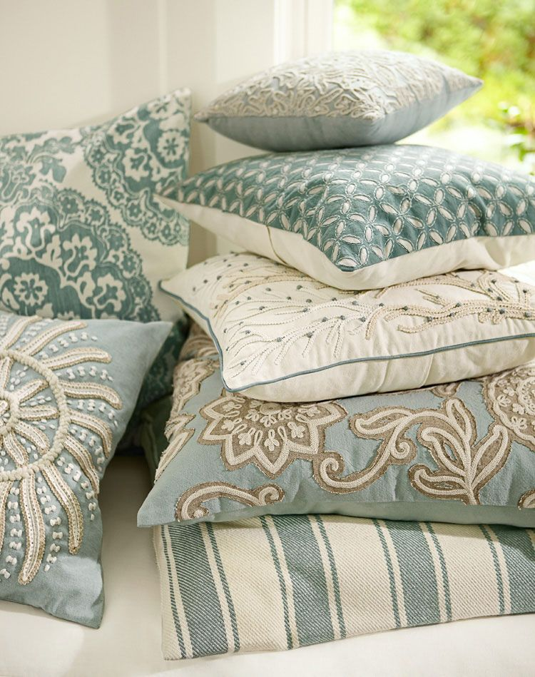 Pottery Barn, coastal style pillows and linens