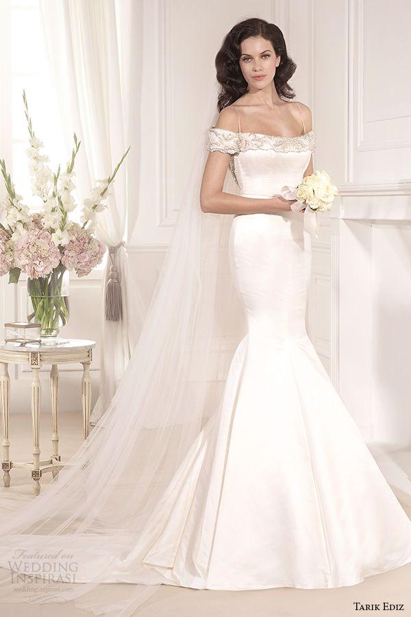 tarik ediz 2014 bridal collection off the shoulder mermaid wedding dress 1 cassandra g1133
