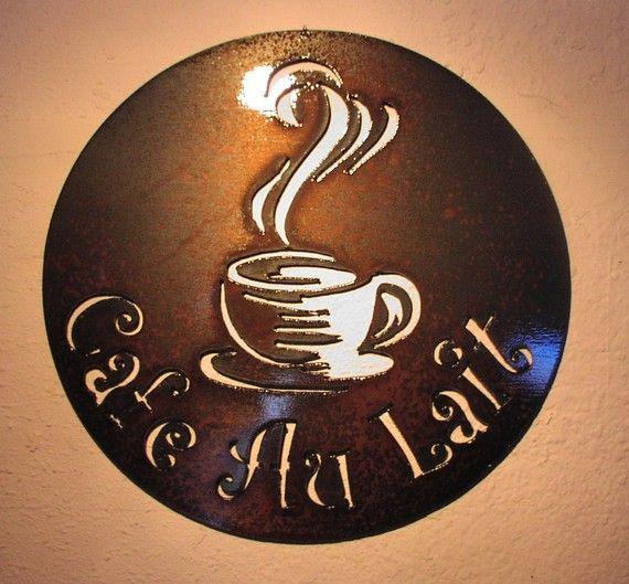 Cafe Au Lait Bistro Metal Art Custom Sign