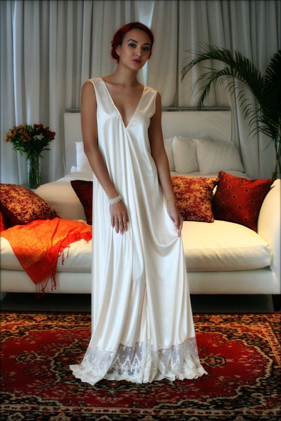 c062e11339 Bridal Nightgown Satin Wedding Lingerie Champagne French Lace Sleepwear Art  Deco Paris Chic Boudoir Backless Gown Sarafina Prima