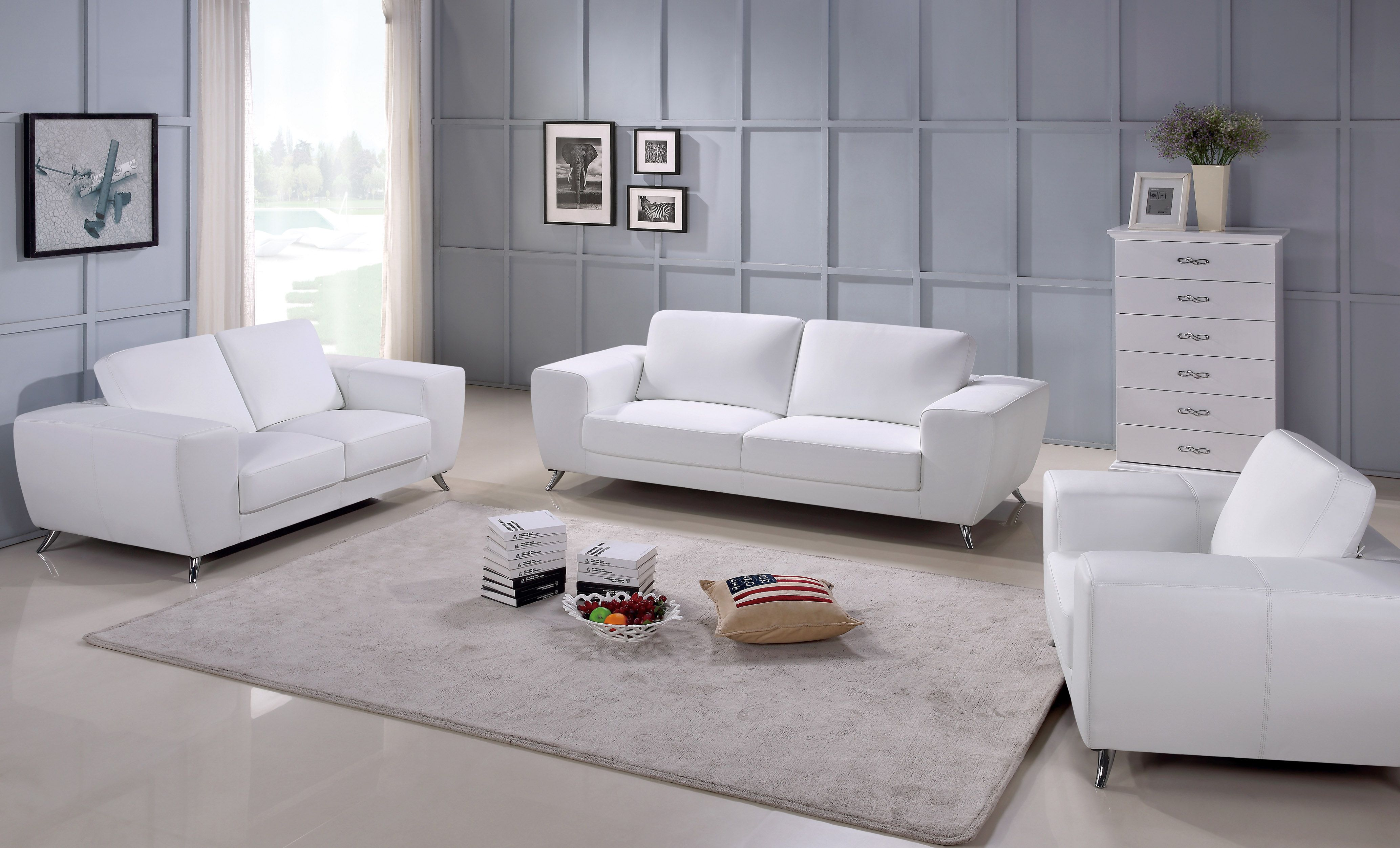 Julie Contemporary Sofa Set With Italian Leather Living Room