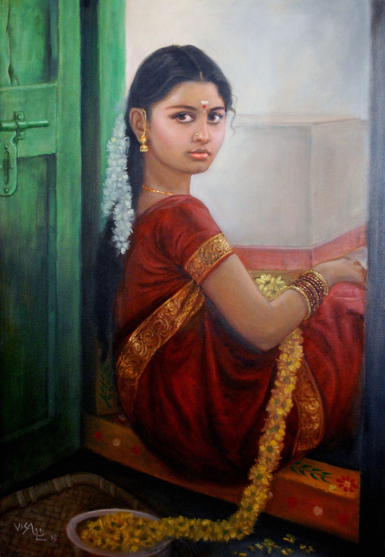 Tamil Girl Sitting By The Door Dravidian Tamil Girls