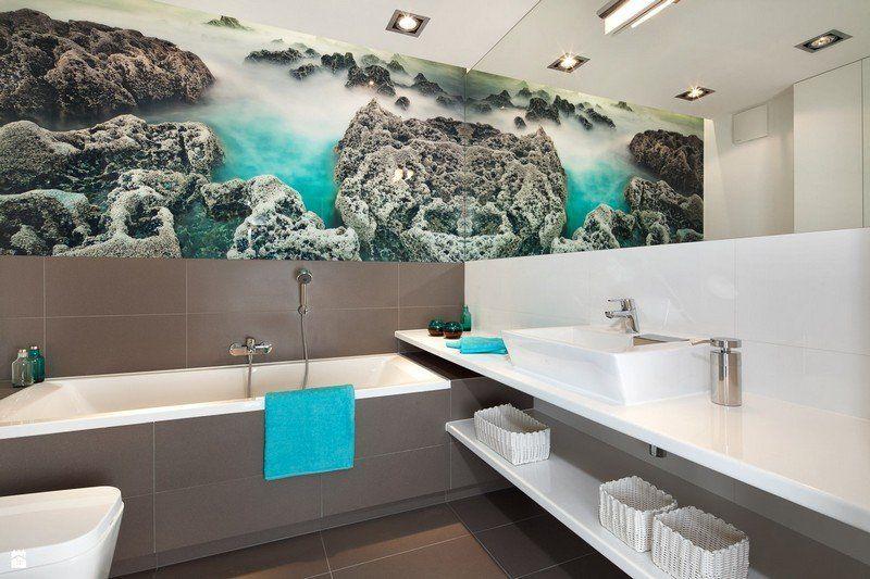 Badezimmer Ideen für kleine Bäder - Lagune Fototapete und Spiegel - fototapete für badezimmer