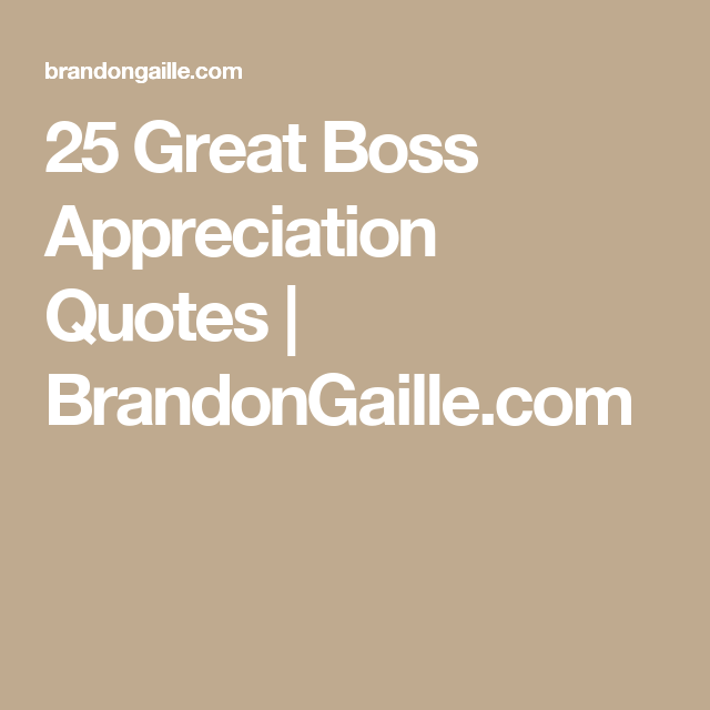 25 Great Boss Appreciation Quotes | BrandonGaille.com